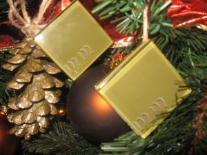 Green Glass Tile Ornaments