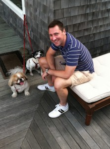 Brent on the porch with Barney and Gertie!